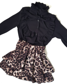Meisjesblouse Ruffle bow black
