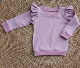 Ruffle sweater Oud Roze