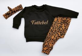 Setje Oker Leopard Tuttebel (geborduurd)