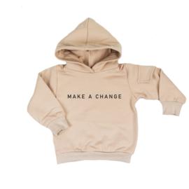 """Hoodie met zijzakje """"Make a change"""" (6 kleuren verkrijgbaar)"""