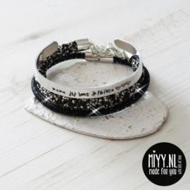 Set van 3: tekstarmband, crystal diamant armband, diamant armband  (black)