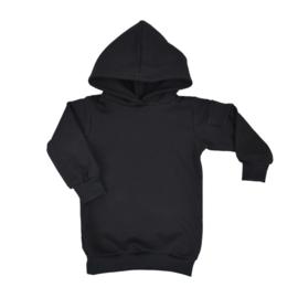 Baggy hoodie dress met zijvakje | Zwart