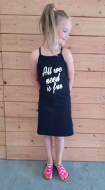 "Lange jurk meisje ""All we need is fun"" Zwart"