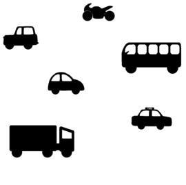 Muursticker Voertuigen uitbreidingsset Sticky Roads