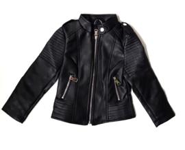 Leather jasje meisje BLACK