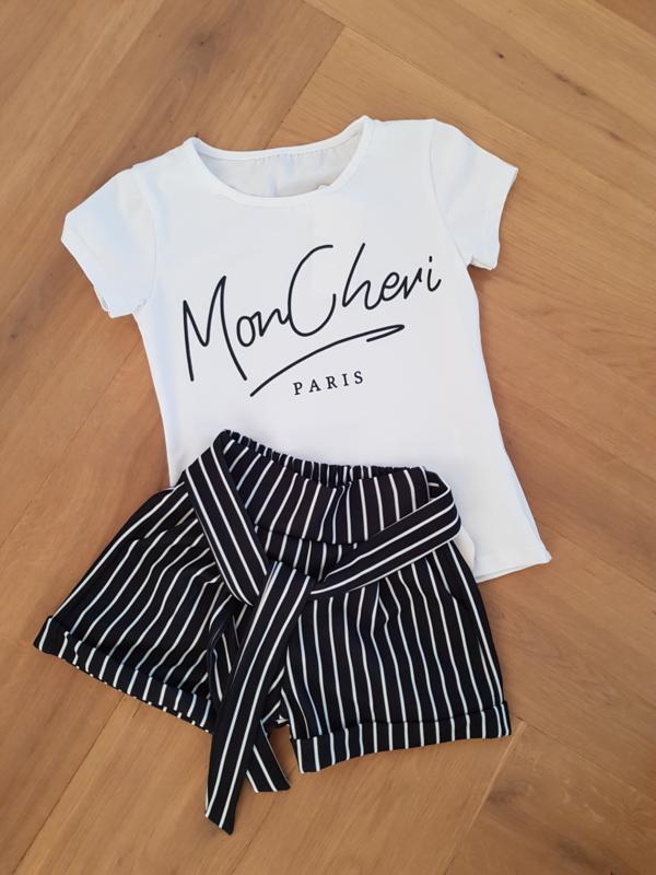 2-delig setje Striped short + shirt Mon Cheri in WIT !