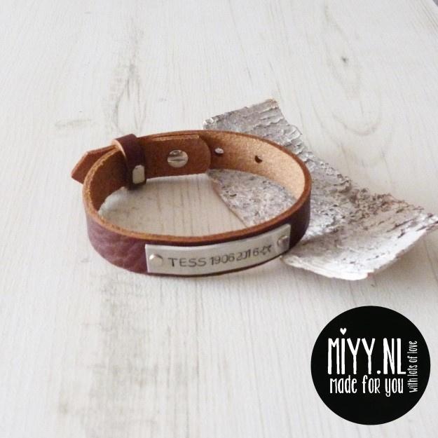 Heren armband met naam / eigen tekst