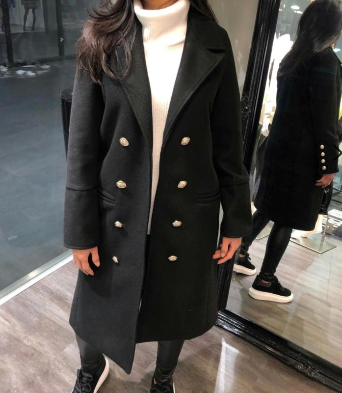 Zwarte lange dames jas / luxury long jacket