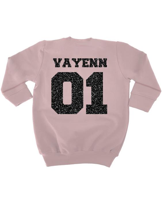 Sweaterdress Roze met naam en nummer