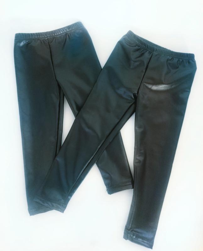 Leather-look legging gevoerd