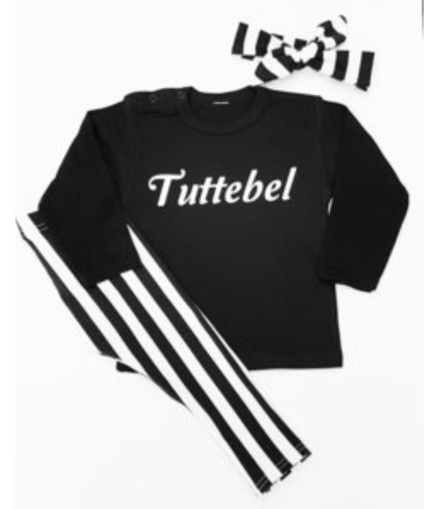 Setje Tuttebel zwart wit gestreept