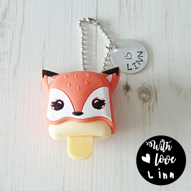 Sleutelhanger Fox lipgloss (met naam)