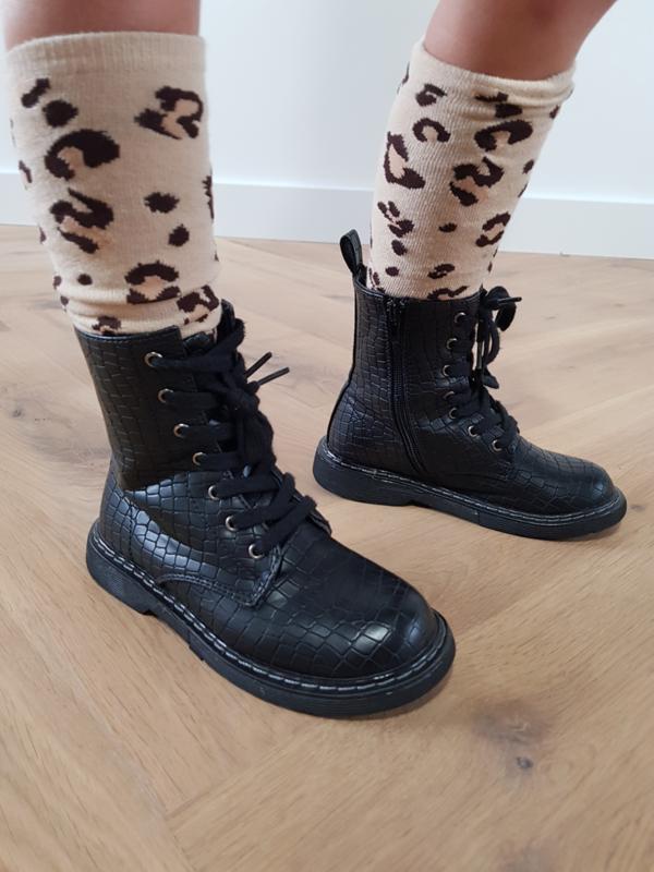 Kniekousen Leopard Beige