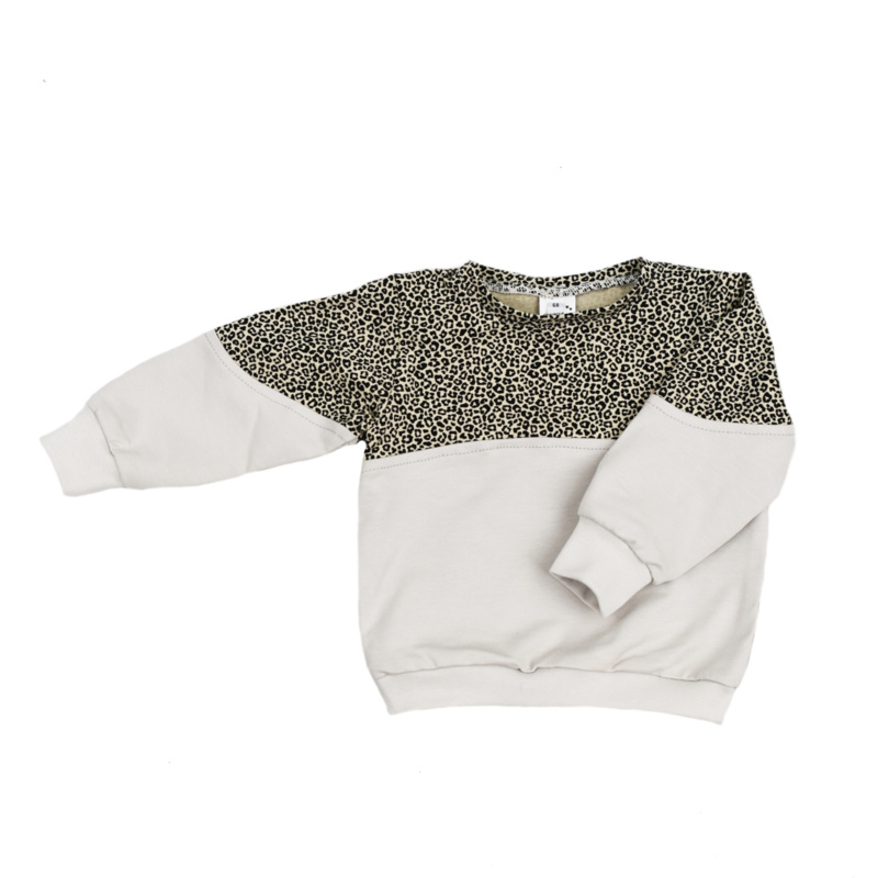 Sweater 2-kleuren Cheetah Vanille   Handmade