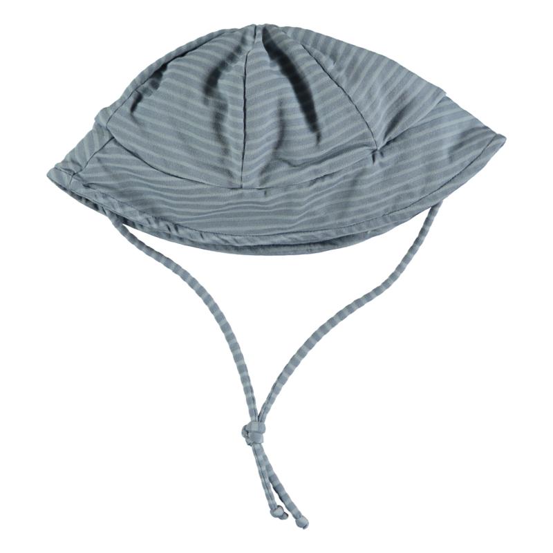 Beans - Coconut Striped lycra cap Sky Blue. Maat 3-9m