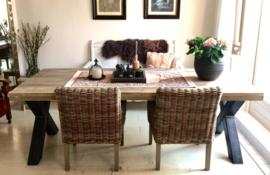 Tafel met stalen poten, Steigerhout