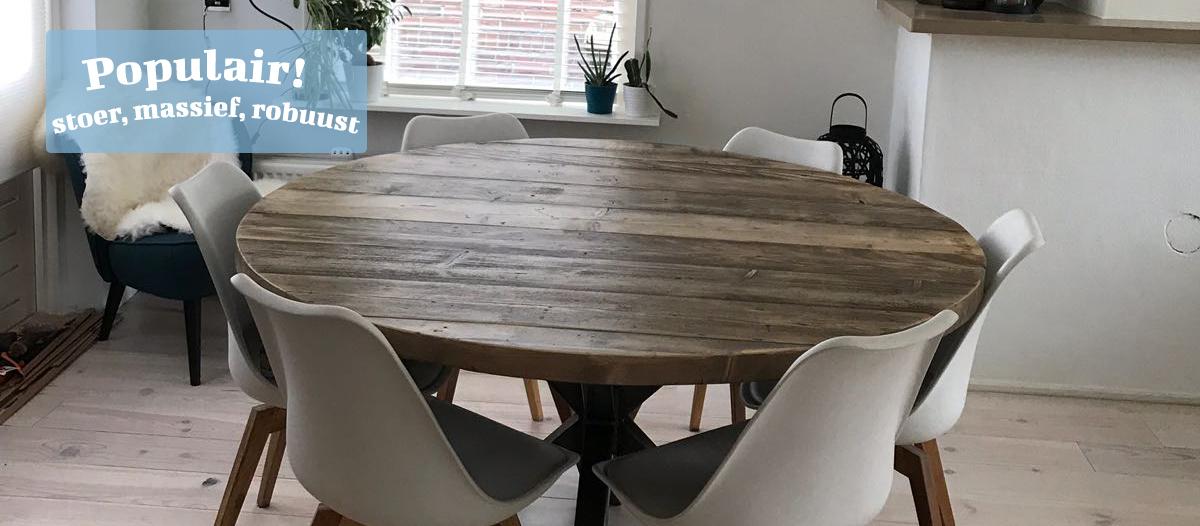ronde tafel -steigerhouten-meubel-oude planken-aluminium-staal-leeuwarden
