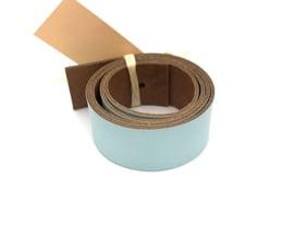 leren plankendrager kleur azzurro met Eikenhout