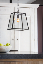 Hanglamp SAUNTE glas metaal zwart