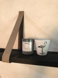 leren plankendrager kleur piombo met Steigerhout