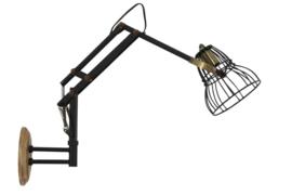 Wandlamp JACKSON mat zwart-antiek brons