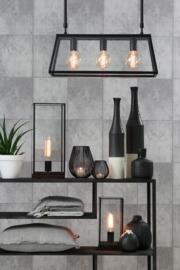 Hanglamp  SVANA glas zwart met 3 lampen