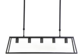 Hanglamp  SVANA glas zwart met 5 lampen