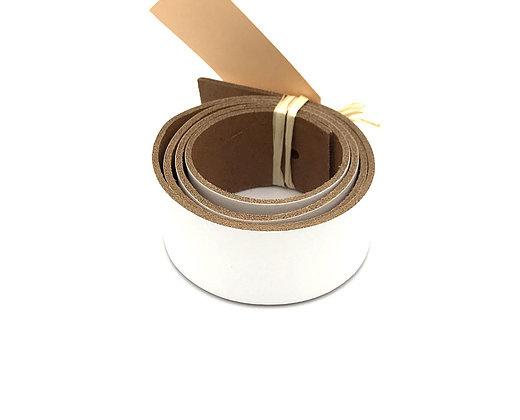 leren plankendrager kleur  bianco met steigerhout.