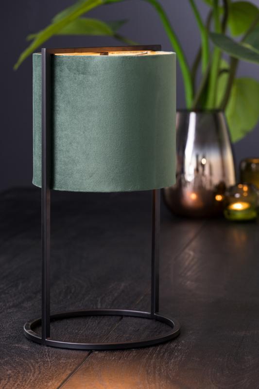 Tafellamp SANTOS mat zwart kap donker groen/roze/taupe 35 cm hoog