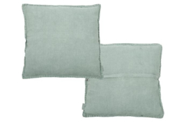 Vintage Linen Cushion old green
