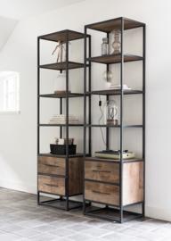 Boekenkast hoog smal, 2 laden, 4 open vakken 210x55x40 cm