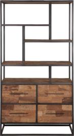 Boekenkast laag, 4 laden, open vakken 180x100x40 cm