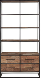 Boekenkast hoog breed, 4 laden, 4 open vakken 210x110x40 cm