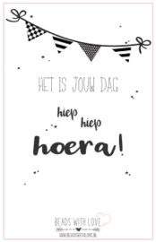Wenskaart voor armband ||Hiep Hiep Hoera!