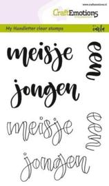 CraftEmotions|| My handletter clear stamp|| Meisje-Jongen|| Nieuw
