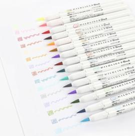 Zebra Mildliner Brush pennen || Cool  colors || set van 5 stuks