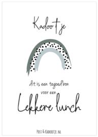 Tegoedbon || Kadootje ||  Lekkere Lunch ||Regenboog || zwarte dot