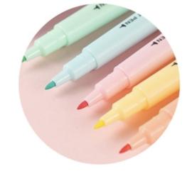Markeerstift || Pastel || Dubbelzijdig ||Set 6 Stks