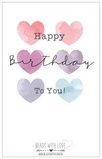 """Wenskaart voor armband """"Happy Birthday"""""""