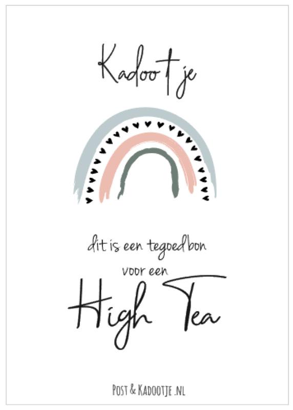 Tegoedbon || Kadootje ||  High Tea ||Regenboog || zwarte hartjes