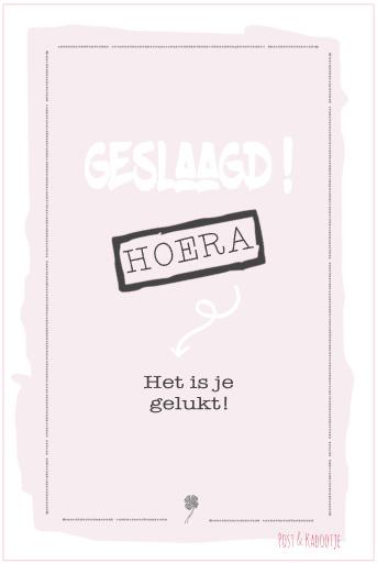 Postkaart Geslaagd! Roze