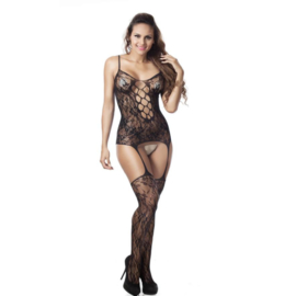 Sexy Lingerie Visnet Bodystocking Sheer Open Kruis