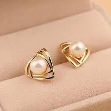 Driehoek Plated Gold Pearl Oorbellen