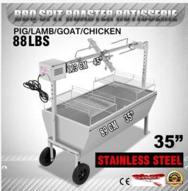 Speenvarken, Lams Grill BBQ met elektrische motor tot 40Kgs.