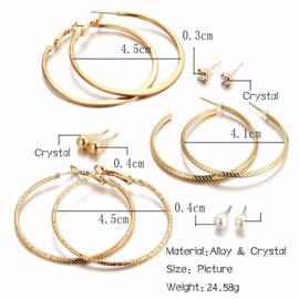 6 paar Goudkleurig  Pearl Clip Cuff Oorbellen Set