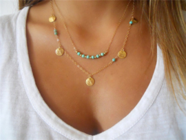 vergulde multilayer turquoise kralen ketting