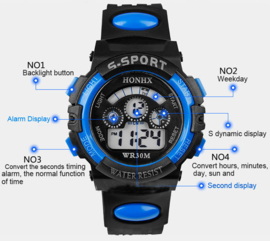 Jongens digitale merk horloge sport mens,  led, alarm, datum, klok