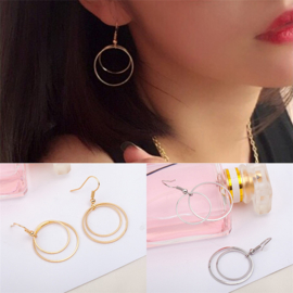 Dubbel ringen oorbellen