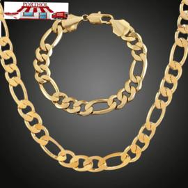 Figaro Schakel Ketting plus armband Gold Plated