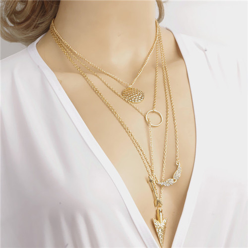 Vergulde multilayer ketting choker feather hangers